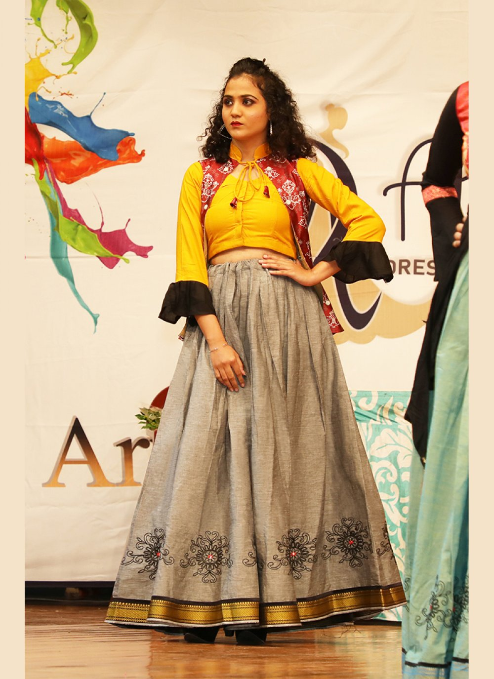 Grey and Mustard Khadi Embroidered A Line Lehenga Choli