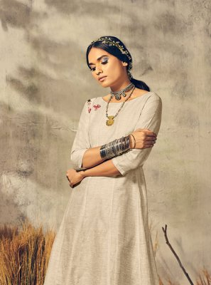 Grey and Off White Designer Kurti