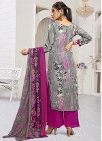Grey and Pink Palazzo Designer Salwar Suit