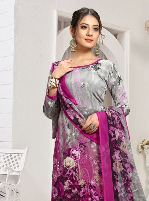 Grey and Pink Palazzo Designer Salwar Suit
