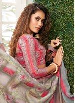 Grey and Pink Weaving Classic Designer Saree