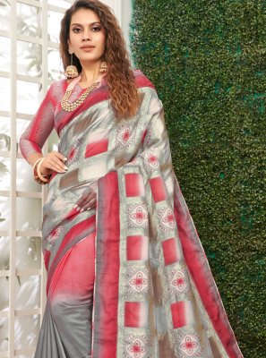 Grey and Pink Weaving Classic Designer Saree