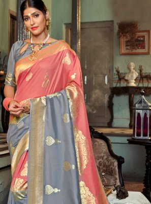 Grey and Pink Weaving Designer Saree