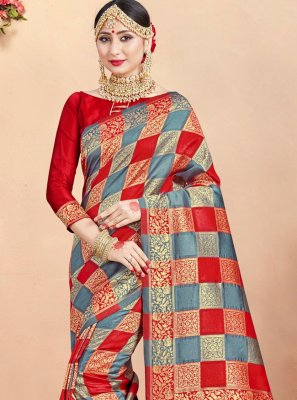 Grey and Red Art Banarasi Silk Weaving Classic Designer Saree