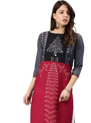 Grey and Red Faux Crepe Casual Kurti
