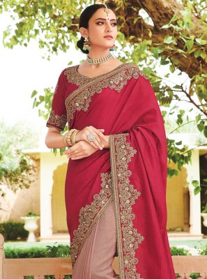 Grey and Red Silk Contemporary Saree