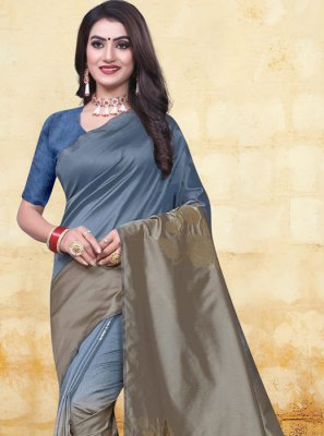 Grey and Silver Color Designer Half N Half Saree