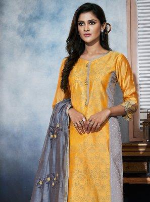 Grey and Yellow Color Designer Salwar Kameez