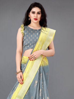 Grey and Yellow Foil print Cotton Classic Saree