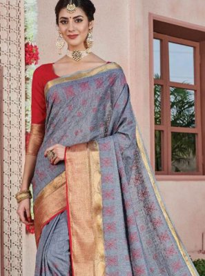 Grey Art Silk Ceremonial Silk Saree