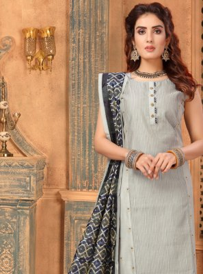 Grey Art Silk Embroidered Bollywood Salwar Kameez