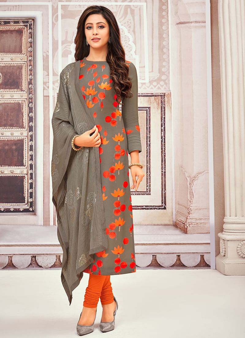 Grey Art Silk Festival Designer Salwar Suit
