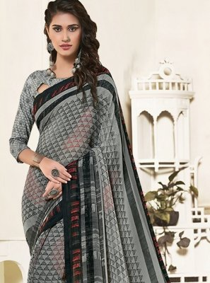 Grey Art Silk Saree