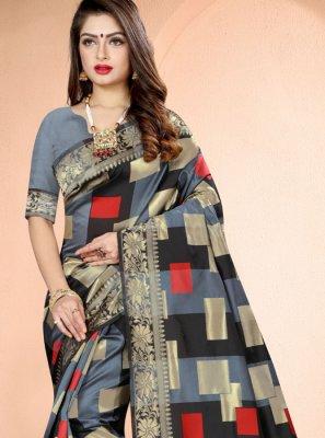 Grey Banarasi Silk Classic Designer Saree