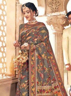 Grey Banarasi Silk Festival Traditional Designer Saree