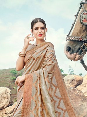 Grey Banarasi Silk Sangeet Contemporary Saree