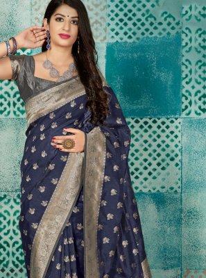 Grey Banarasi Silk Weaving Traditional Designer Saree