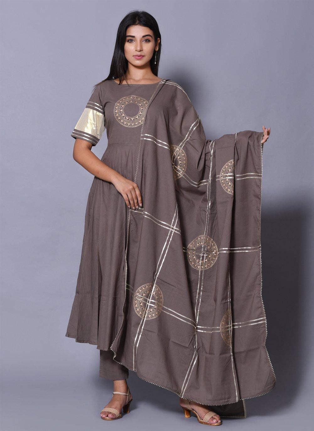 Grey Block Print Salwar Suit