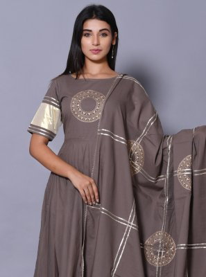 Grey Block Print Salwar Suit