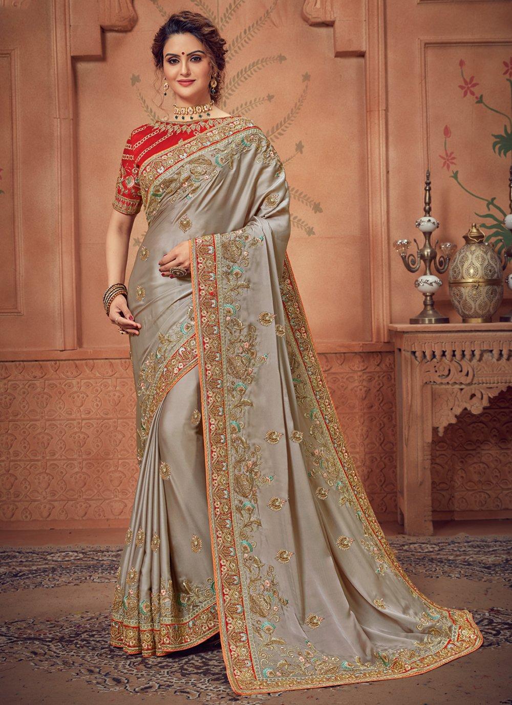 Grey Border Traditional Designer Saree