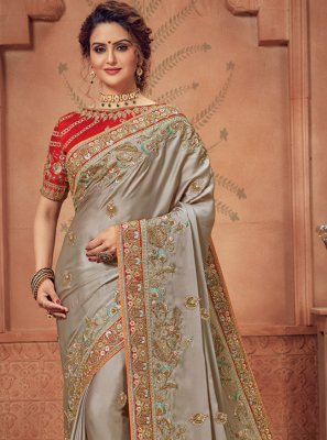Grey Border Traditional Designer Saree