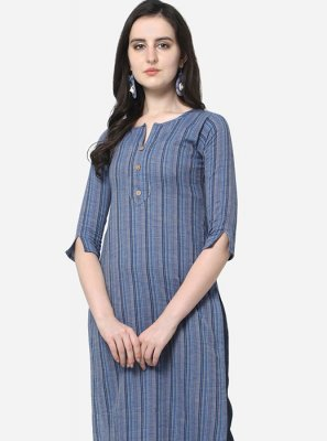 Grey Casual Cotton Casual Kurti
