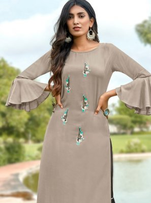 Grey Casual Party Wear Kurti