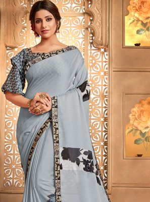 Grey Casual Printed Saree