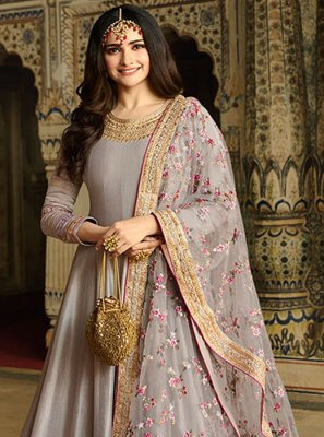 Grey Ceremonial Anarkali Salwar Suit