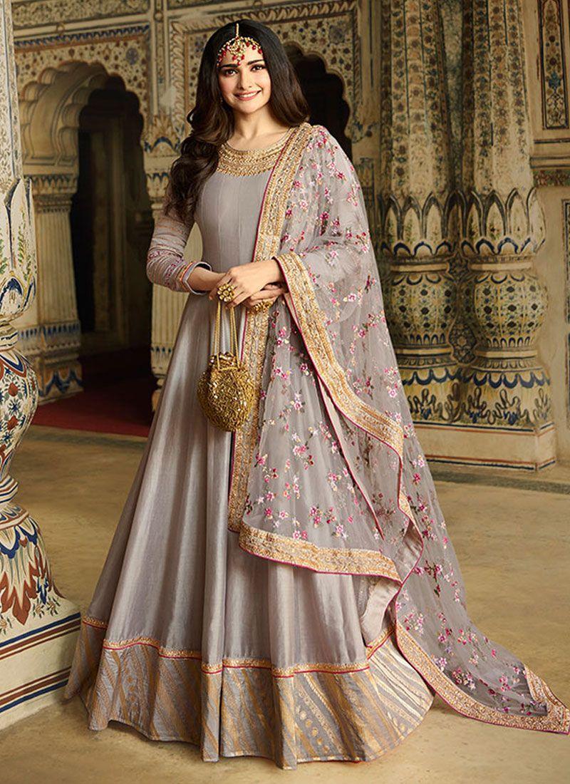 Grey Ceremonial Anarkali Salwar Suit