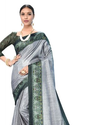 Grey Ceremonial Art Silk Printed Saree