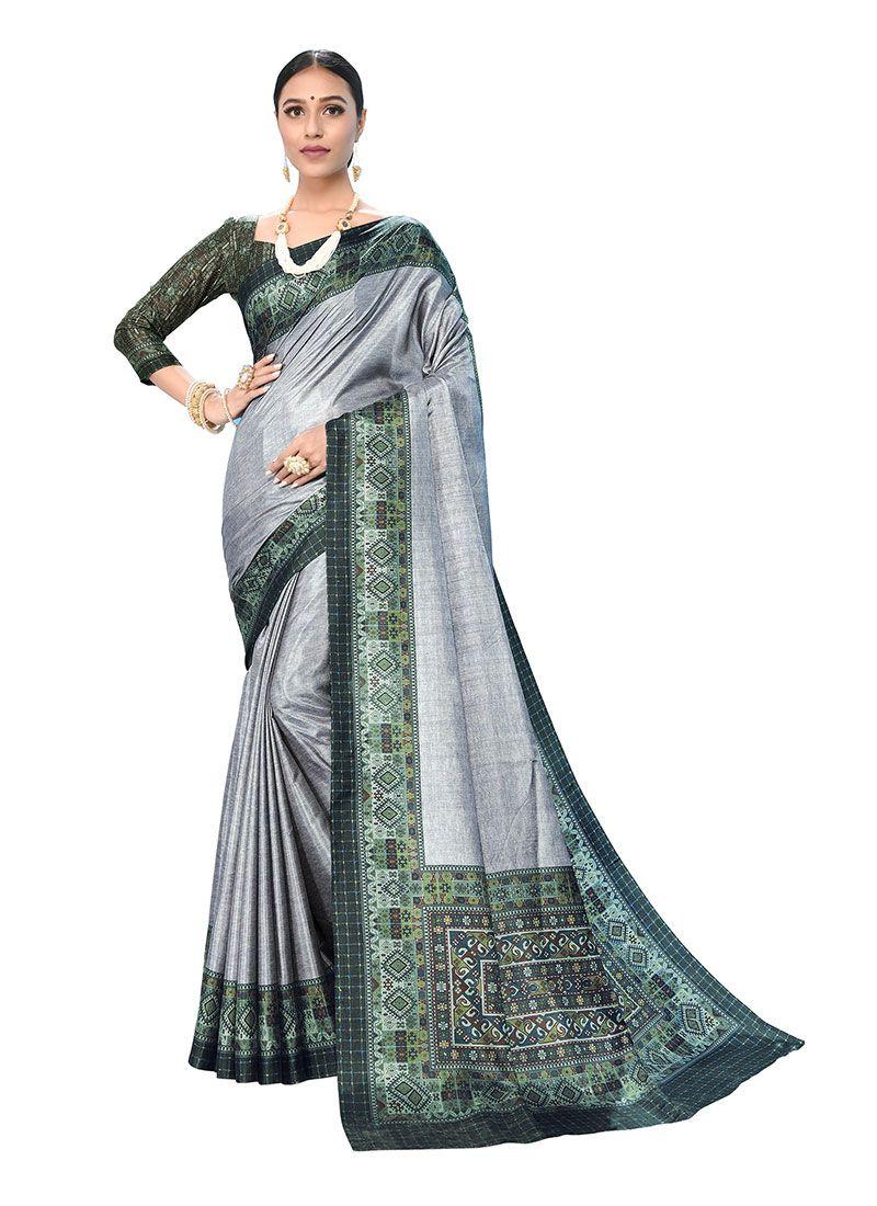 Grey Ceremonial Art Silk Printed Saree