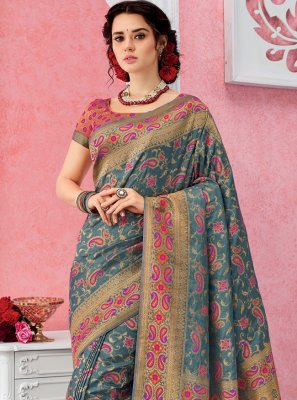 Grey Ceremonial Contemporary Saree