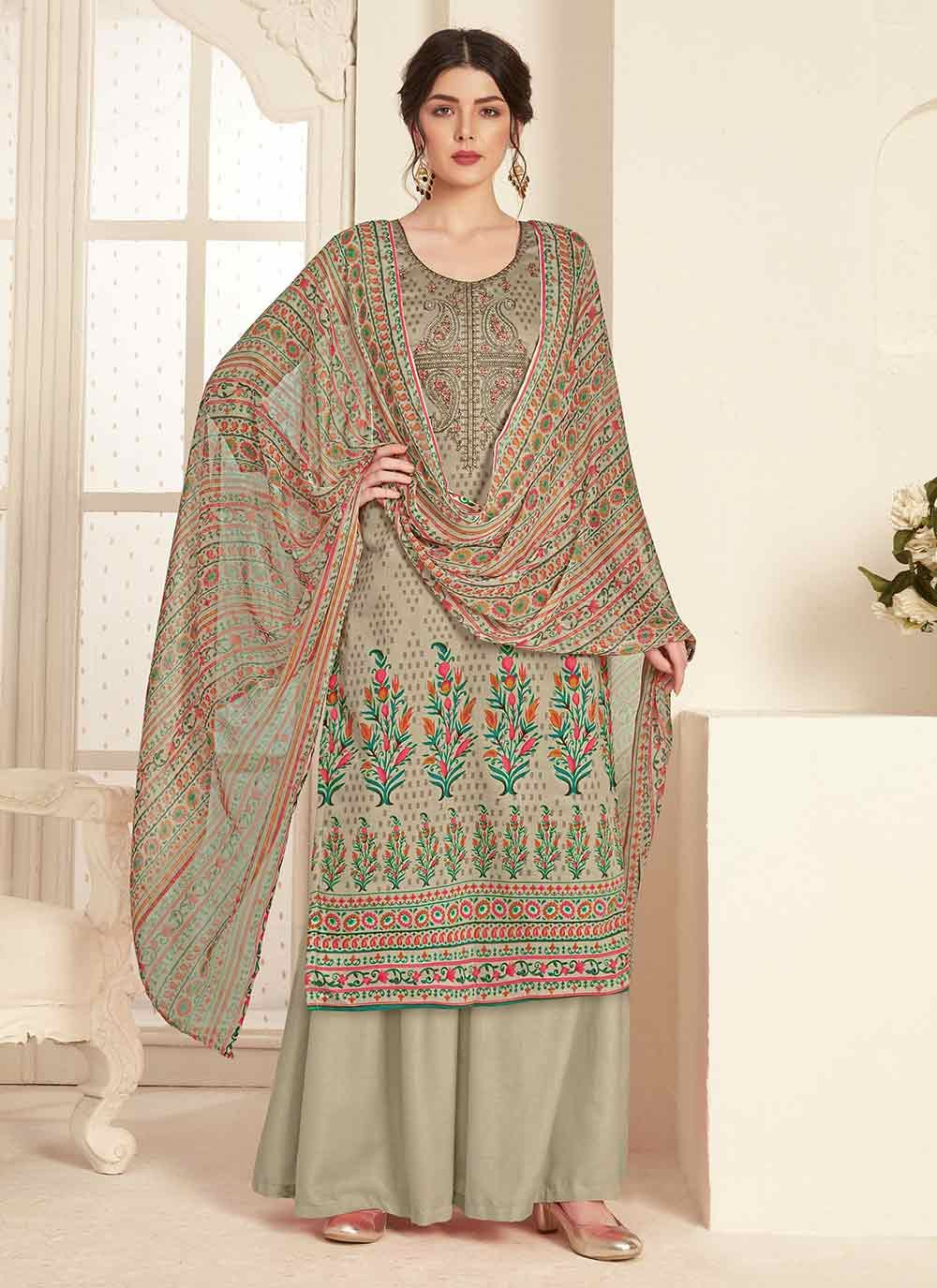 Grey Ceremonial Cotton Trendy Palazzo Salwar Kameez