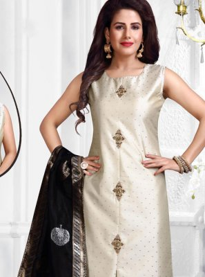 Grey Ceremonial Jacquard Silk Salwar Suit