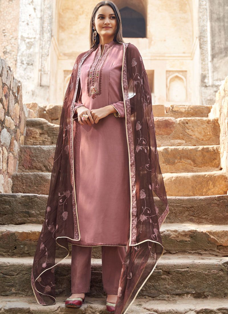 Grey Ceremonial Muslin Salwar Suit