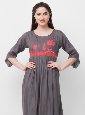 Grey Ceremonial Party Wear Kurti