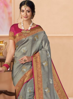 Grey Ceremonial Trendy Saree