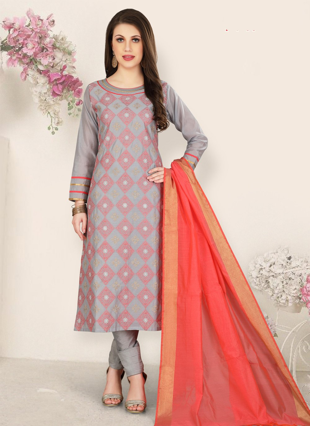Grey Chanderi Churidar Salwar Suit