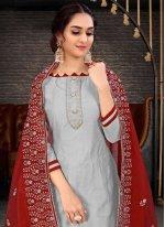 Grey Chanderi Embroidered Bollywood Salwar Kameez