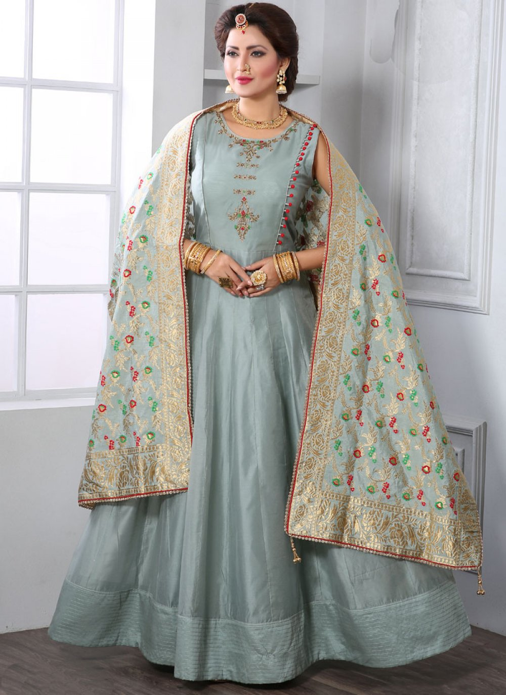 Grey Chanderi Handwork Readymade Designer Gown