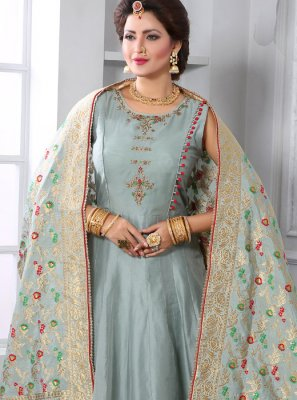 Grey Chanderi Handwork Readymade Designer Gown