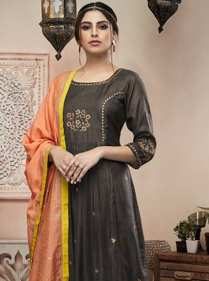 Grey Color Anarkali Salwar Suit