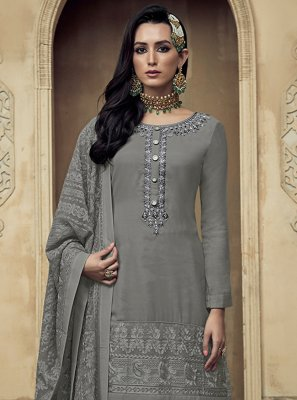 Grey Color Bollywood Salwar Kameez