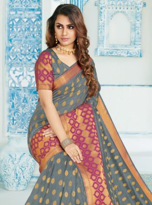 Grey Color Casual Saree
