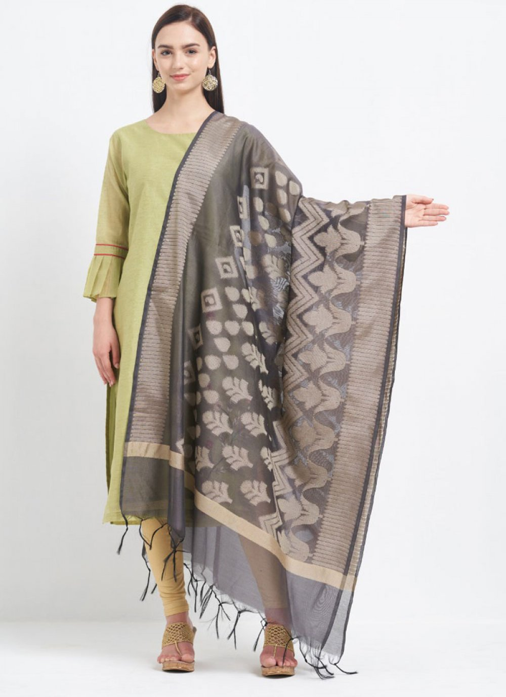 Grey Color Designer Dupatta