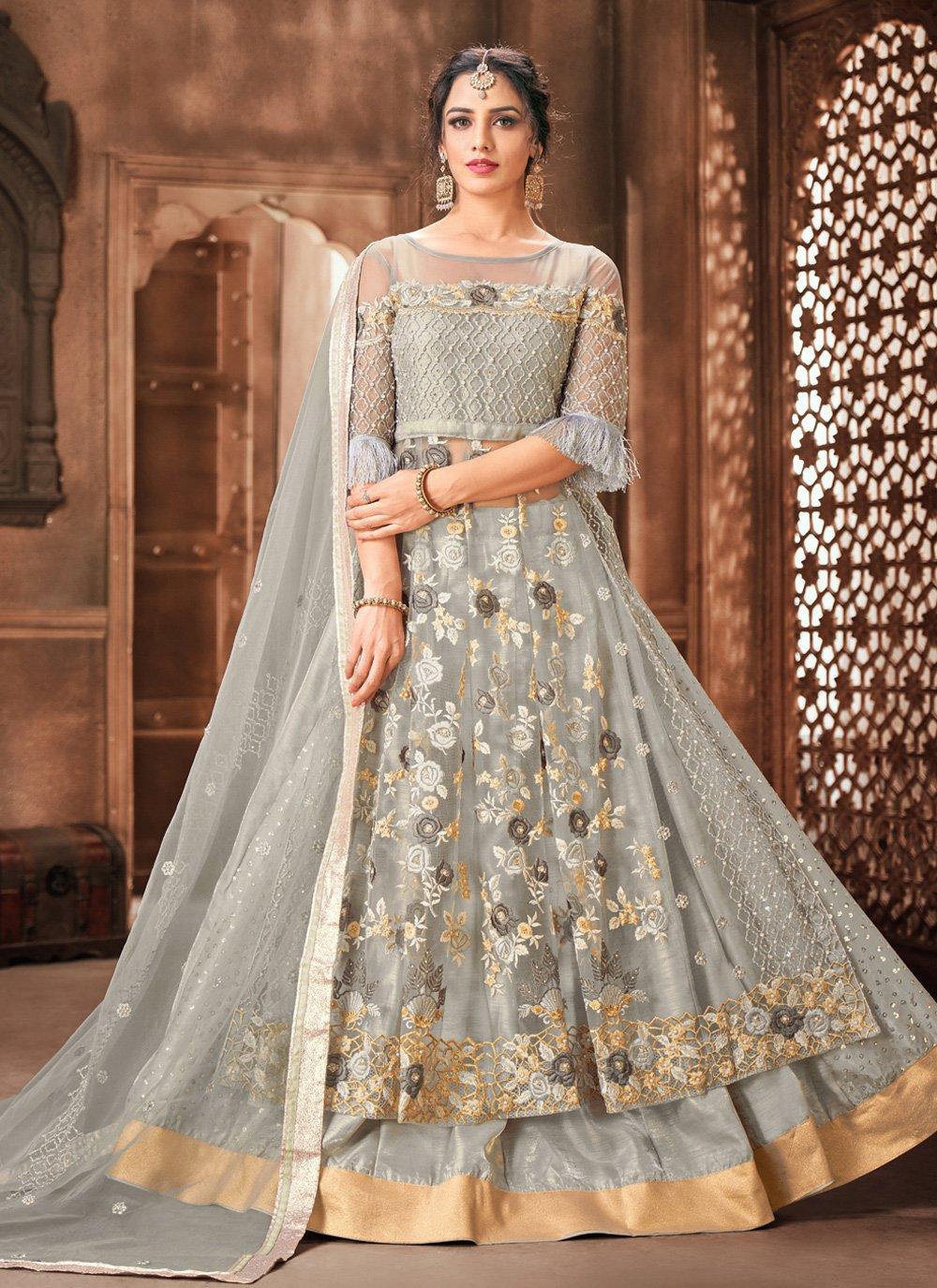 Grey Color Designer Long Lehenga Choli