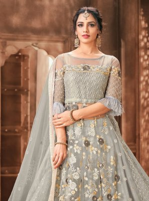 Grey Color Designer Long Lehenga Choli