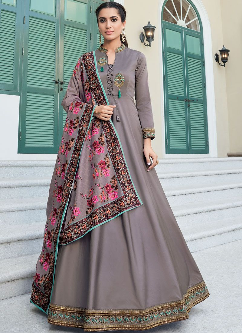 Grey Color Readymade Designer Gown