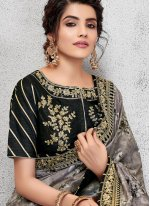 Grey Color Traditional Saree